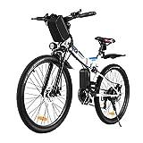 Vivi Bicicletta elettrica Mountain Bike elettrica per Adulti, Bici elettrica Pieghevole da 26 '' Motore da 250 W con Batteria agli ioni di Litio da 36 V 8 Ah, Cambio a 21 velocità (White Blue)