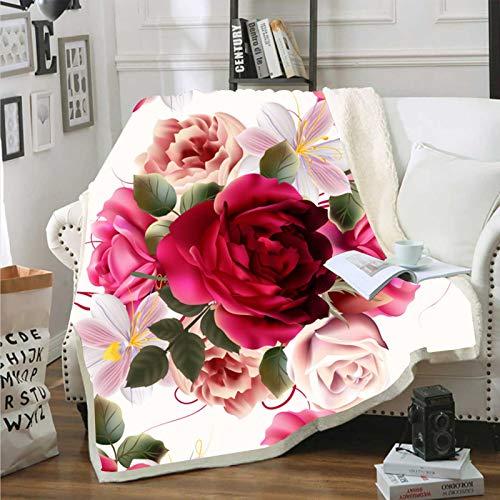 YEARGER Blumen Kuscheldecken,Rot Rosa Microfaser Sherpa Decke Warm Weich Fleecedecke Komfortabler TV Decke Weich Tagesdecke Lazy Wohnzimmerdecke (130x150cm,#02)