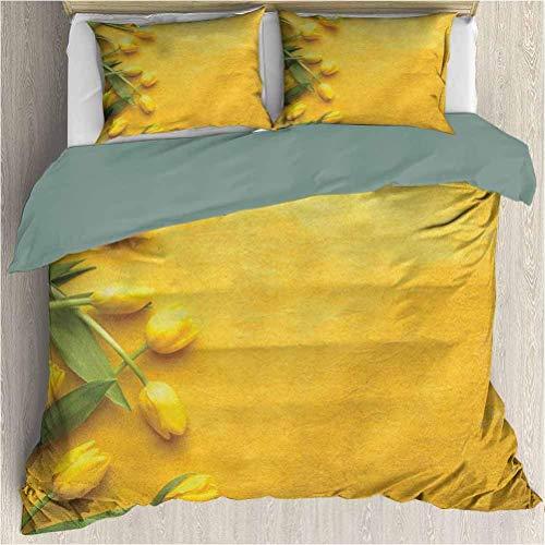 Juego de edredón de funda nórdica de 3 piezas amarillo Tulipanes holandeses daneses en la pared de color Jardín Floral Love Lily Herbs Juego de funda nórdica y funda de almohada con estampado artístic