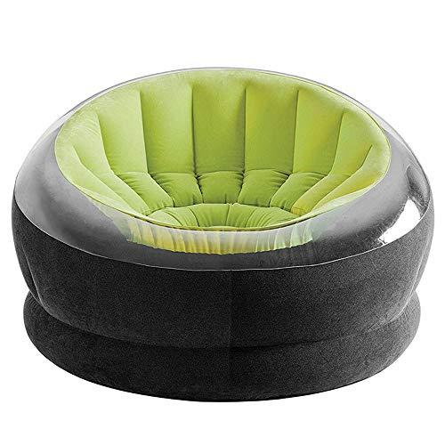 KFRSQ Opblaasbare Sofa Lounger Hangstoel Camping Stoelen Flocking Outdoor Groen Single Chai(112x109x69cm)