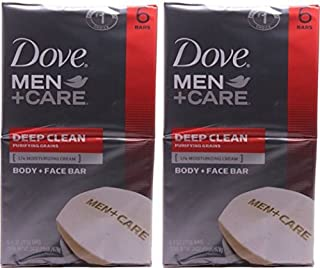 Dove Men+Care, Deep Clean Body + Face Bar, 4 Ounce, 6 Count, (Pack of 2)…