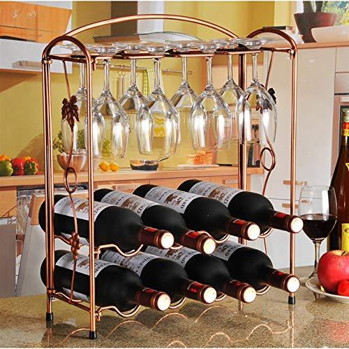 Estante de vino de madera apilable apilable de 2 capas 8 Botellas encimeras 8 copas de vino Rack Taza de colgaje Taza de almacenamiento de gabinete: de pie - para bar, bodega, sótano, despensa 40.5x15