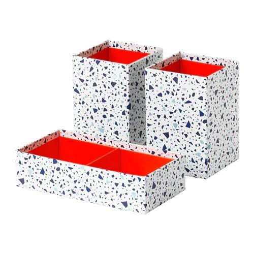 IKEA MÖJLIGHET Box, Set of 3, red/Mosaic Patterned