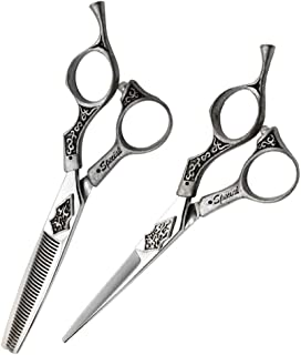 "Hair Cutting Scissors Set 6.0"", Vintage Engraving Hitachi 440C Stainless Steel Barber 35 Teech Thinning Shears Hair Cuttin..."
