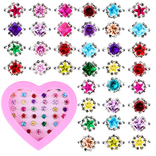 36 Pieces Girls Jewelry Rings Set with Box Colorful Cute Diamond Finger Rings Adjustable Pretend...