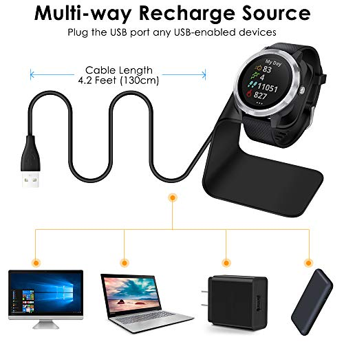 Vivoactive 3 Charging Cable Stand Accessories Replacement USB Power Adaptor Cord for Vivoactive 3 Smartwatch QIBOX Compatible with Garmin Vivoactive 3 Charger ONLY for Vivoactive 3 Smartwatch
