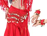 LZYMSZ Ballo di Pancia Sciarpe Hip Skirt, Ragazze/Onda Donna Gonne Forma Avvolgente con 128-monete d'oro, Chiffon Ciondolanti Belly Dance Costume Vita Cintura con Bracciali (Red)