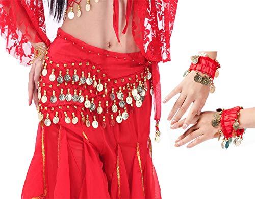 LZYMSZ Bauchtanz Hüfttücher, Mädchen/Frauen Wellenform Röcke Wrap mit 128-Gold Münzen, Chiffon Dangling Bauchtanz Taille Kostüm Gürtel mit Armbändern (red)