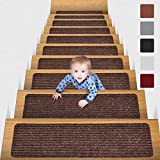 MBIGM 8' X 30' (15 in Pack) Non-Slip Carpet Stair Treads Non-Skid Safety Rug Slip Resistant Indoor Runner for Kids Elders and Pets with Reusable Adhesive, Brown