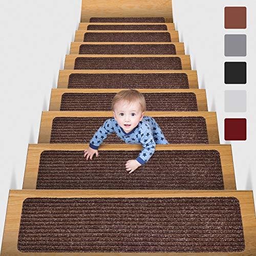 MBIGM 15 Tappetini per Scale (20 x 76 cm) Tappetino Antiscivolo di Sicurezza Runner Interno Antiscivolo per Bambini, Anziani e Animali Domestici con Adesivo Riutilizzabile, Marrone