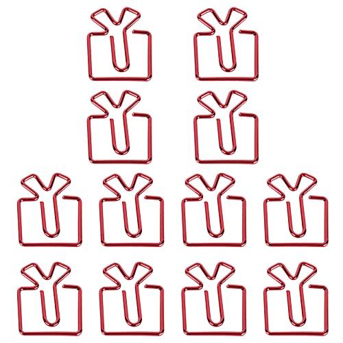 Juego de sujetapapeles de caja de regalo roja, conveniente juego de sujetapapeles lindo para uso profesional para suministros de oficina para papelería de estudiantes para uso general