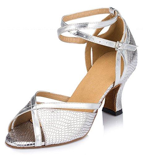 Honeystore Damen's Einfarbig Riemen Satin Tanzschuhe Silber 34 EU