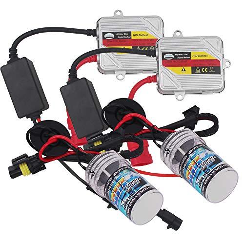 Eseastar Kit de conversión 9005 HB3 HID con 2 bombillas de xenón blanco de 6000 K y 2 balastos de 35 W y 12 V