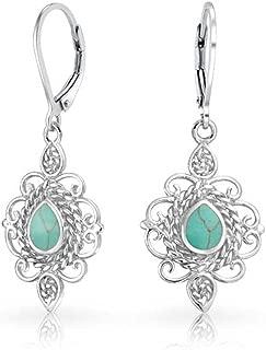 Vintage Style Filigree Teardrop Stabilized Turquoise Leverback Dangle Earrings For Women 925 Sterling Silver