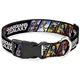Dog Collar Plastic Clip Guardians of The Galaxy 5 Character Pose Blocks 9 to 15 Inches 1.0 Inch Wide