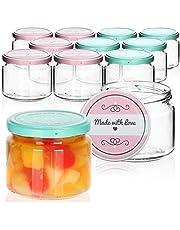 """com-four® 12x Tarros de Cristal para Conservas con Tapa de Rosca""""Made with love"""" - TO Ø 82 mm - 260 ml"""