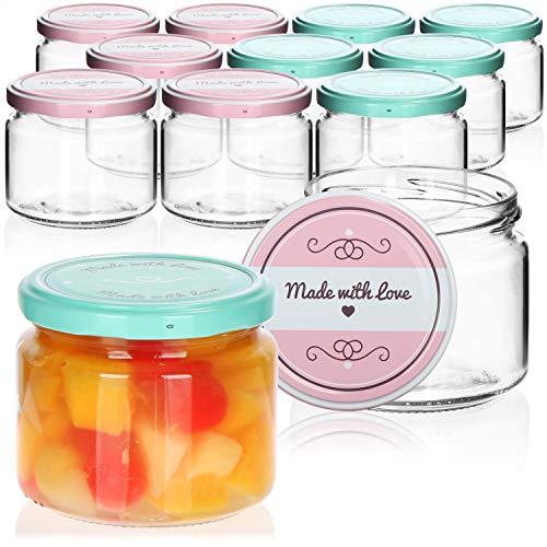 "com-four® 12x Tarros de Cristal para Conservas con Tapa de Rosca""Made with love"" - TO Ø 82 mm - aprox. 260 ml"