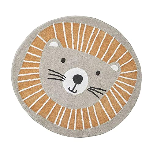 PAKEY Baby Crawl Mat Round,Nordic Round Lion Floor Mat,Imitation Cashmere Printing&Cotton Felt with Non-Slip Particles,Fun Gym Play Mat for Baby Kids,100cm