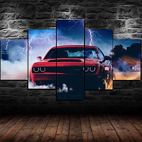 Póster De Lienzo 5 Piezas HD Arte De La Pared Impresa Decoración Dormitorio El Hogar Pintura De La Lona Foto Challenger SRT (Enmarcado)
