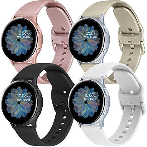 WARME 4 Stück Armband Kompatibel mit Samsung Galaxy Watch Active / Active 2 40mm 44mm Armband, 20mm Neue Weiche TPU Ersatz Armbänder für Galaxy Watch 3 41mm/Gear Sport