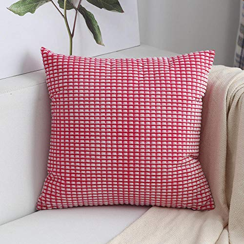 Nordic Plaid Pillow Square Cushion Sofa Pillow Living Room Square Pillow@red_50*50 (with core)