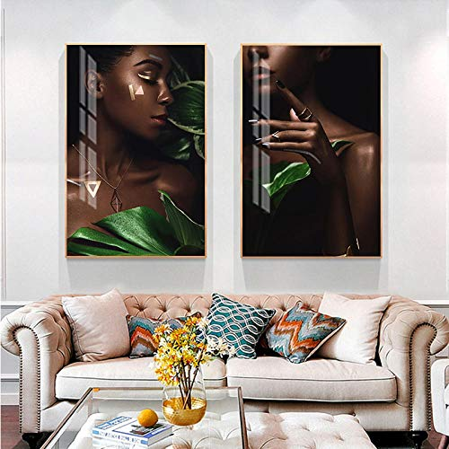 Nordic Black Girl Model Poster Print Vrouwen Nail Wall Art Pictures voor Woonkamer Manicure Winkel Decor Mode Home Pictures 50x70cmx2pcs (geen frame)