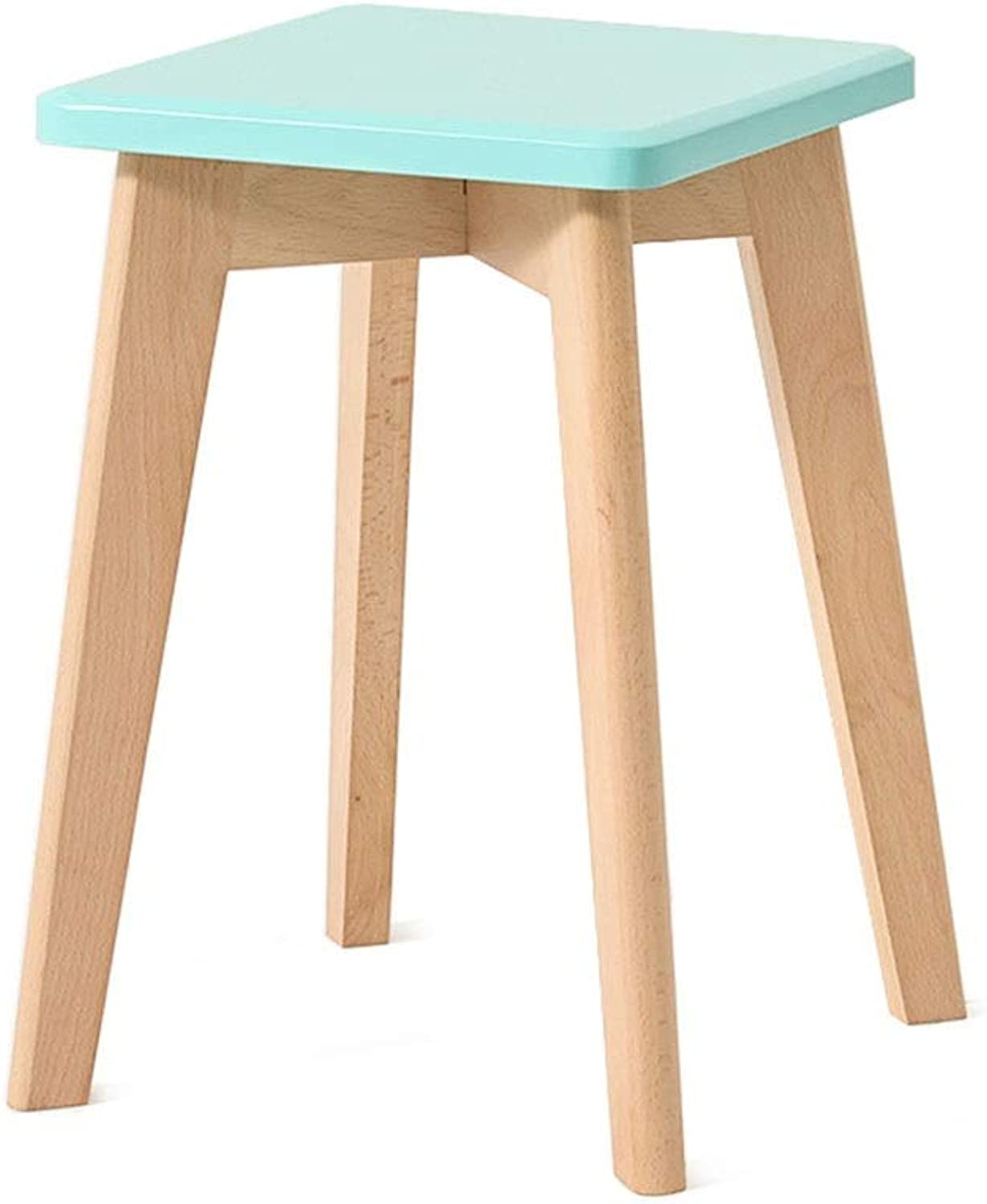 Solid Wood Stool, Dining Table Stool Dressing Stool, Living Room Stool, Small Bench Pure Solid Wood (color   bluee)