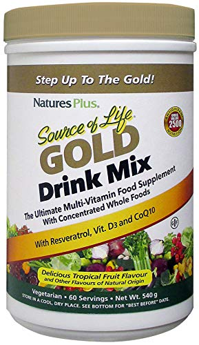 Nature's Plus Source of Life Gold Drink Mix All Natural Whole Food Multivitamin, Complete Daily Vitamin Profile, Energy Booster, Immune Support - Gluten Free (540g)