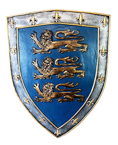 Ebros Gift Large Medieval Knight Royal Arms Of England Three Lions Shield Wall Plaque 18'Tall King's Crest Heraldry Renaissance Warrior Knights Decorative Hanging Sculpture