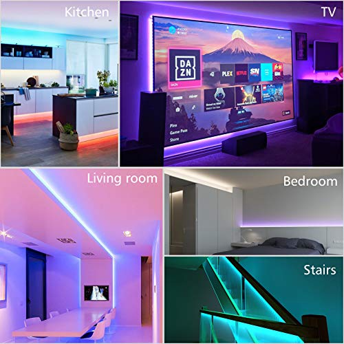 LED Strip Lights,1 Roll 32.8ft 5050 RGB SMD LED Tape Lights, Multiple Color Changing LED Strip Light with IR Remote/Music Sync, Strong Adhesive Kit for Home, Ceiling,Bedroom, Kitchen,DIY Decoration 2