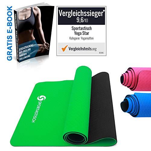Sportastisch Yogamatte Vergleichssieger¹ Yoga Star Gymnastikmatte, rutschfeste & Gepolsterte Fitnessmatte Sportmatte für Pilates Fitness Gymnastik, GRATIS E-Book & bis zu 3 Jahren Garantie²