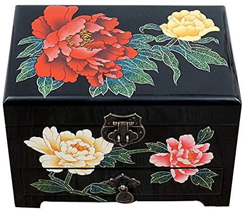 Schmuckkästchen Schmuckkästchen aus Holz, chinesische Aufbewahrungsbox, Verbandskasten, Schmuckkästchen, Lack-Schmuckbox, schwarz, doppelschichtig, Schwarz