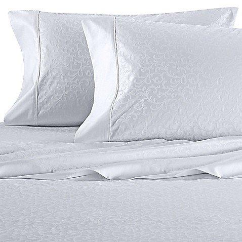 Wamsutta 625-Thread Count PimaCott Scroll King Pillowcases in White (Set of 2)