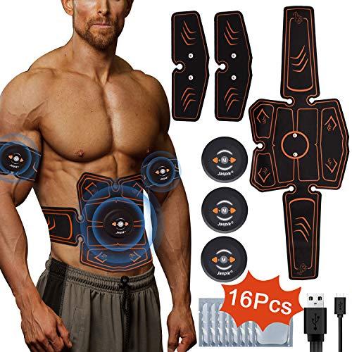Jaspik EMS Elektrische Muskelstimulation Trainingsgerät Bauchmuskeltrainer USB Aufladen Fettverbrennung Tragbarer Muskelstimulator für Bauch/Arm/Bein Fitness Trainings Gang