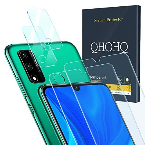 QHOHQ 2 Piezas Protector de Pantalla para Huawei P Smart 2020 con 2 Piezas Protector de Lente de Cámara, Cristal Templado Membrana, [9H Dureza] - HD - [Anti-Arañazos]