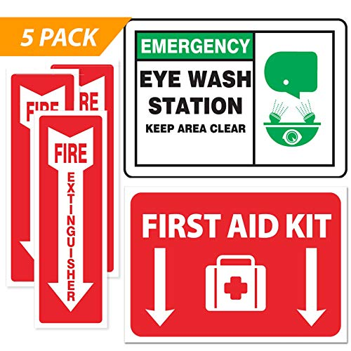 Emergency Safety Sticker Sign [FULL SET] – Fire Extinguisher Arrow – Eye Wash Station – First Aid – OSHA Requirement (5-pack)