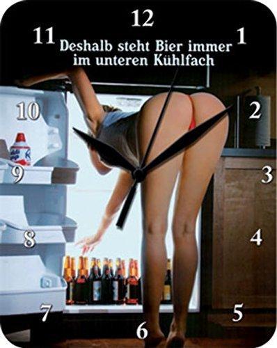 Unbekannt Deshalb steht Bier unten Blech Uhr Flach Neu 20x26cm VU587-1
