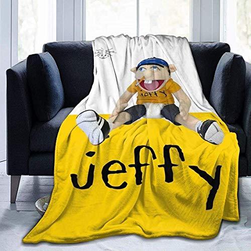 VJSDIUD 3D impresión Ultra Suave Manta de Microfibra Jeffy sábana para el hogar Cama sofá Dormitorio Negro 80 x 60