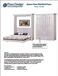 Build queen Murphy bed with pre-made interior panel 4-panel door style, woodwoking plans- Design 1QDWB