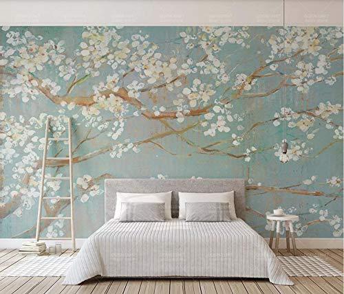 Fototapete 3D Tapete Hand Gezeichnetes Ölgemälde, Kirschblüte, Blume Tapeten Vliestapete 3D Effekt Wandbild Wanddeko Wandtapete