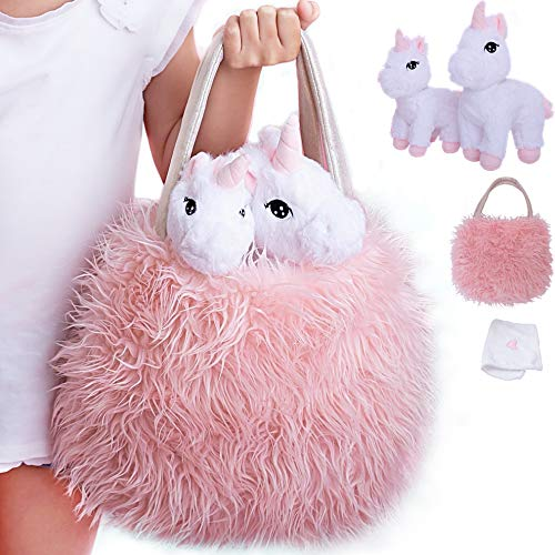 Unicorn Gift for Girls 4 Pcs Set. Baby and Mommy Unicorn Toy  XL Furry Bag and Baby Doll Blanket. Adorable Plush Toy for 3 4 5 Year Old Girl  Unicorn Gift for Little Girl. Birthday  Christmas Age 2-8