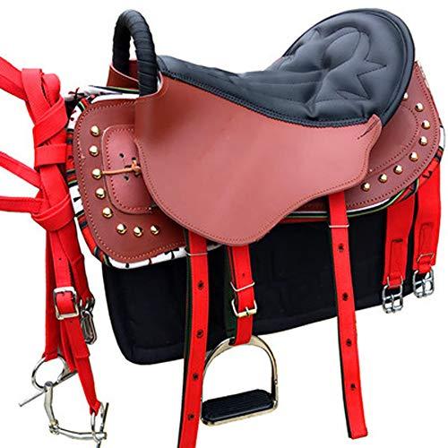 BLCC Satteltasche Sattel Race Sattelausrüstung Sattelsitz Pferdeausrüstung Deep Seat Sattel Erwachsenensattel mit Zubehör Geeignet für Pferdesportdämpfung Dark Brown