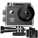 Action Camera, 1080P HD Waterproof Sports Cam 2 Inch LCD Screen , 140 Degree Wide Angle Lens , 98ft Underwater DV Camcorder With 2 Rechargeable Batteries and 9 Accessory Kit (black)