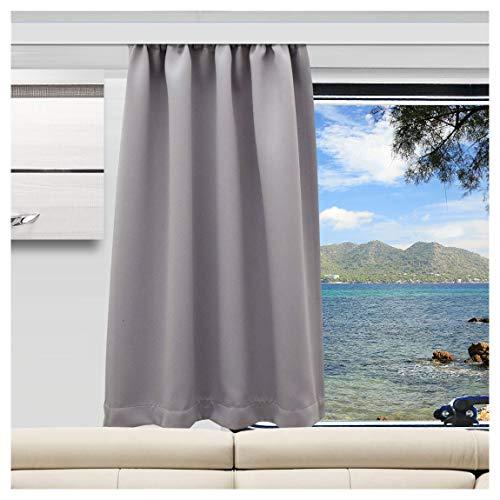 SeGaTeX home fashion Wohnmobil Caravan-Vorhang Mattis grau Verdunklungsdeko Wohnwagengardine mit Reihband (Höhe & Breite nach Maß)