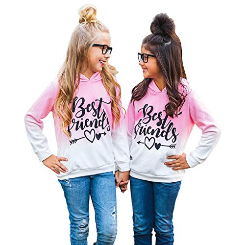 Printasaurus Blouses and Tops for 4-5 Years Baby and Kids, Toddler Kids Baby Girls Best Friends Ombre Hoodie Sweatshirt Pullover Tops, Girls Tops (Pink 4-5 Years)