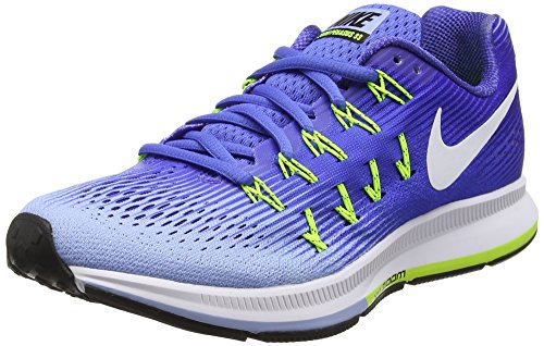 Nike Wmns Air Zoom Pegasus 33, Scarpe da Corsa Donna, Blu (Med Blue/White/Aluminum/Deep Night/Volt/Black), 36.5 EU