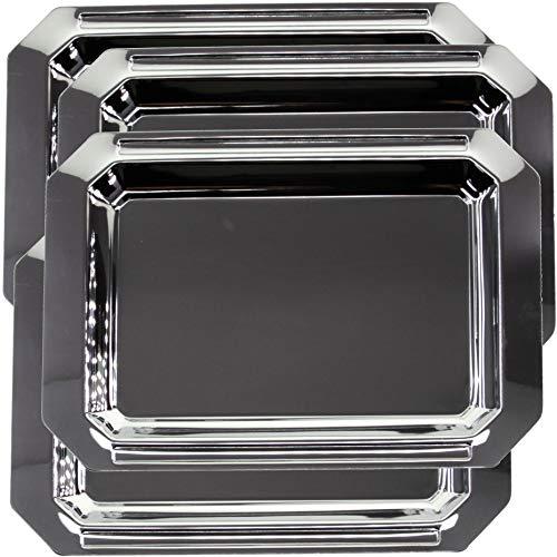Maro Megastore (Pack of 4) 35.5 cm x 25 cm Octagonal Chrome Plated Silver Mirror Serving Tray Stylish Design Stylish Plain Decorative Party Birthday Wedding Dessert Buffet Wine Platter Plate CC-991