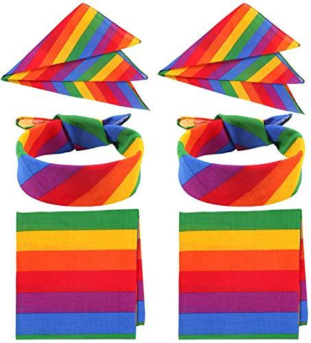Carnavalife 6psc Pañuelo Bandana Pulsera de Arcoiris Gay con Rayas de Colores 45x45cm para Hombre Mujer Unisex para Fiesta y Gay Desfile (Pañuelo de gay*6)