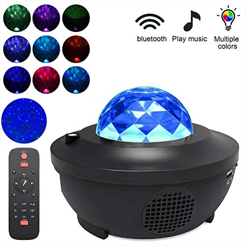Yissma LED Music Star Projector Luz Nocturna para niños Starry Sky Lights Proyector Altavoz Bluetooth con Control Remoto y Temporizador
