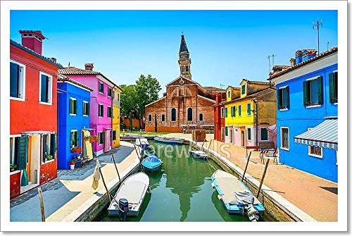 Venice Landmark, Burano Island Canal, Colorful Houses, Church and Boats, Italy Paper Print Wall Art (12in. x 18in.)